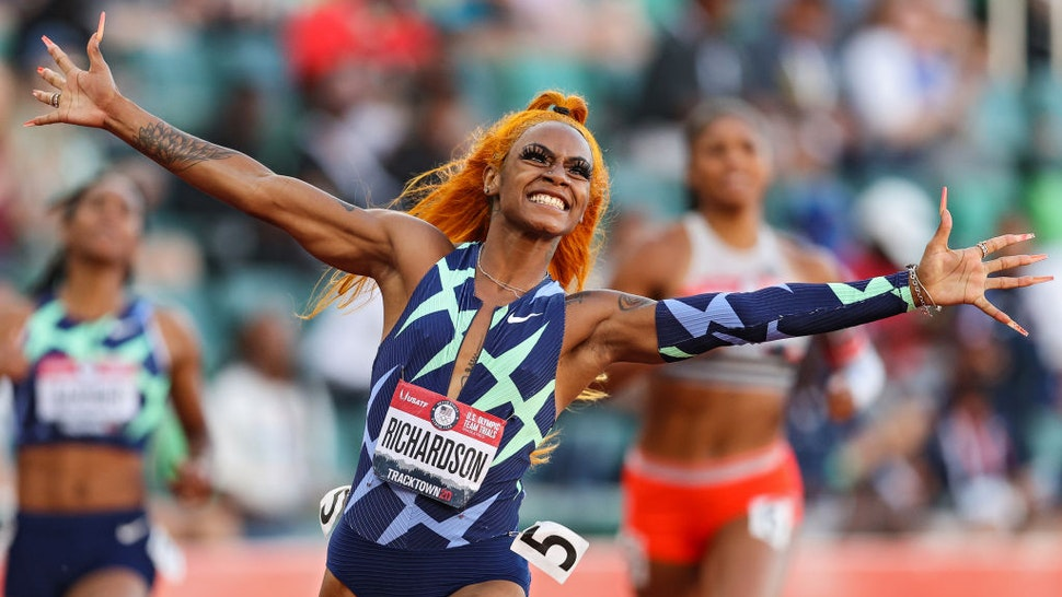 19: Sha'Carri Richardson celebrates winning the Women's 100 Meter final on day 2 of the 2020 U.S. Olympic Track & Field Team Trials at Hayward Field on June 19, 2021 in Eugene, Oregon. (Photo by Patrick Smith/Getty Images)