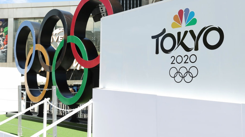 """UNIVERSAL CITY, CALIFORNIA - JULY 03: NBC Olympics launches """"Rings Across America"""" Tour life-size set of iconic Olympic Rings at Universal Studios Hollywood on July 03, 2021 in Universal City, California. (Photo by Amy Sussman/Getty Images)"""