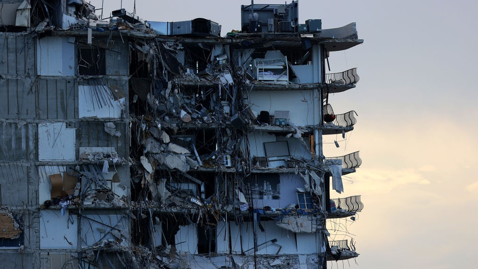 The partially collapsed 12-story Champlain Towers South condo is prepared for a controlled demolition on July 4, 2021 in Surfside, Florida.