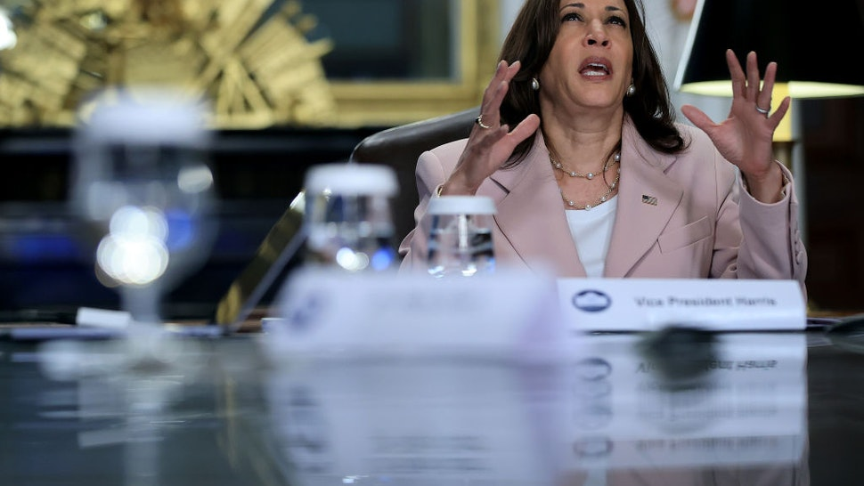U.S. Vice President Kamala Harris delivers remarks at the start of a roundtable discussion on voting rights for people living with disabilities in her ceremonial office in the Eisenhower Executive Office Building on July 14, 2021 in Washington, DC.