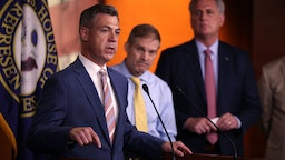 WASHINGTON, DC - JULY 21: Rep. Jim Banks (R-IN) (L), joined by Rep. Jim Jordan (R-ON) (C) and House Minority Leader Kevin McCarthy (R-CA) speaks at a news conference on House Speaker Nancy Pelosi's decision to reject two of Leader McCarthy's selected members from serving on the committee investigating the January 6th riots on July 21, 2021 in Washington, DC. Speaker Pelosi announced she would be rejecting Rep. Banks and Rep. Jordan's assignment to the committee. (Photo by Kevin Dietsch/Getty Images)