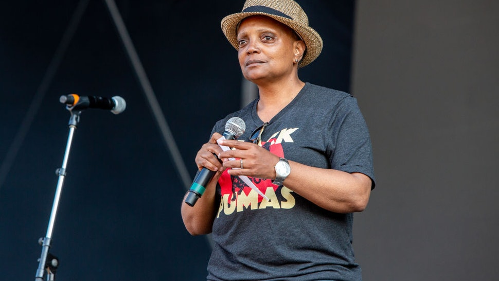 Chicago mayor Lori Lightfoot introduce the Black Pumas set at Lollapalooza in Grant Park on July 29, 2021 in Chicago, Illinois.