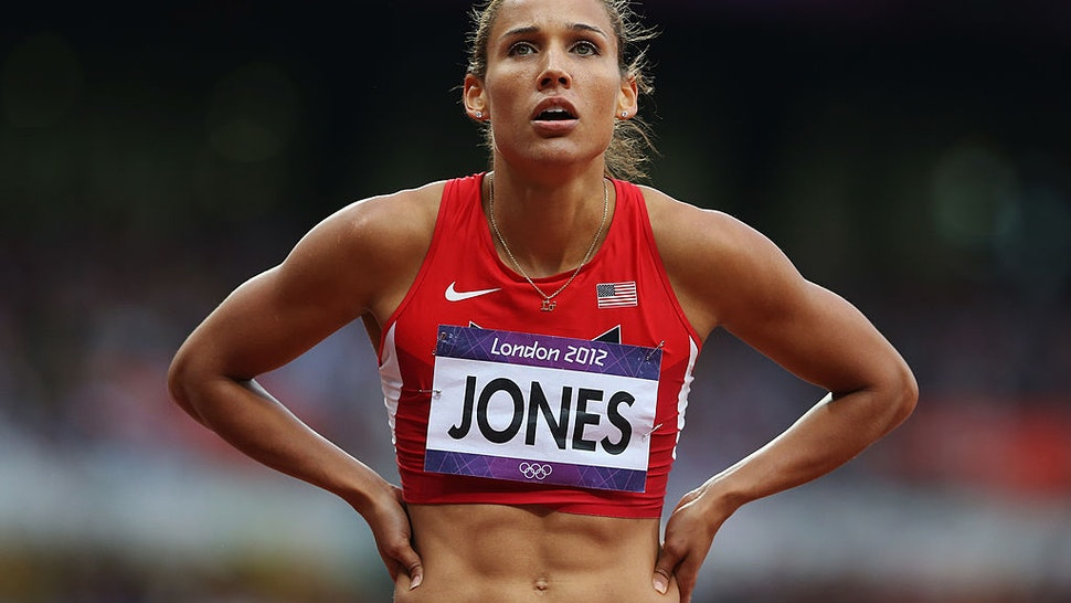 Lolo Jones of the United States looks on after competing in the Women's 100m Hurdles Semifinals on Day 11 of the London 2012 Olympic Games at Olympic Stadium on August 7, 2012 in London, England.