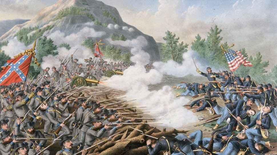 27th June 1864: US Civil War 1861-65. The Atlanta Campaign. Major General William T. Sherman sent Union forces to attack Confederate General Joseph E. Johnston's entrenched position at Kennesaw Mountain, Georgia, which protected the rail supply link to Atlanta. Confederate artillery and rifle fire inflicted heavy Union casualties, repulsed the attack and won the battle. An 1891 color illustration.