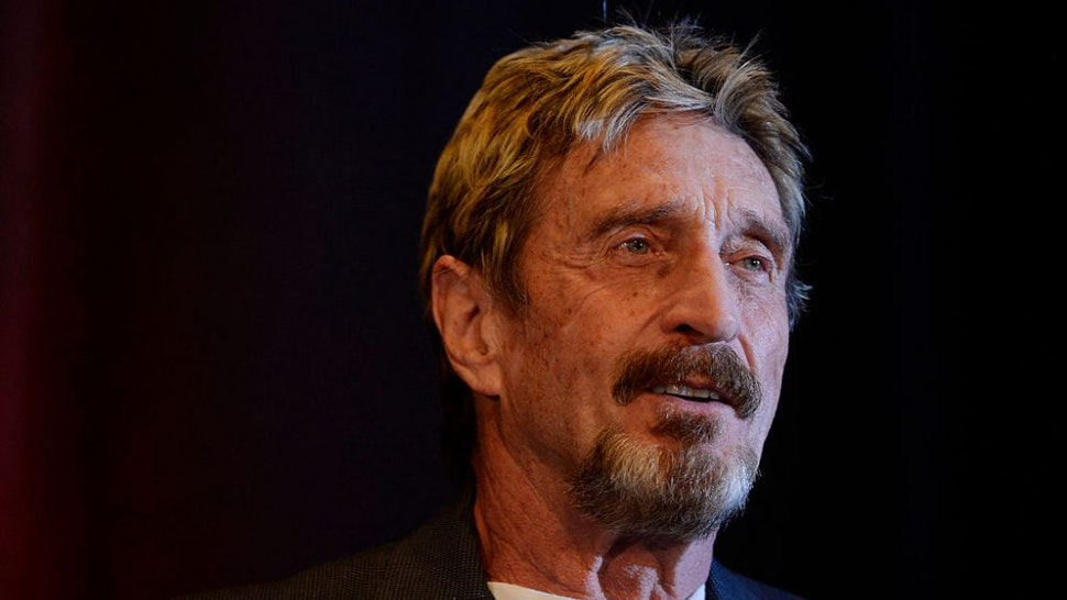 DENVER, CO - MAY 11: John McAfee founder of McAfee anti virus/security software was the keynote speaker for the 10th anniversary Rocky Mountain Information Security Conference at the Colorado Convention Center in Denver. McAfee a candidate for president spoke first with a panel then keynote address Wednesday, May 11, 2016.