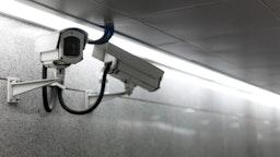 Video Cameras monitoring the underground pedestria - stock photo