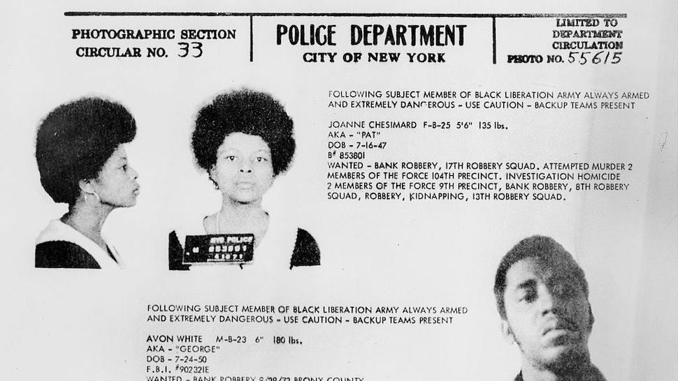 JoAnne Chesimard, member of the Black Liberation Army. Police wanted poster for Bank Robbery, 17th Robbery Squad, attempted murder 2 members of the police 104th precinct, investigation homicide 2 members of the force 9th precinct, bank robbery, 8th robbery squad, robbery, kidnapping, 13th robbery squad.