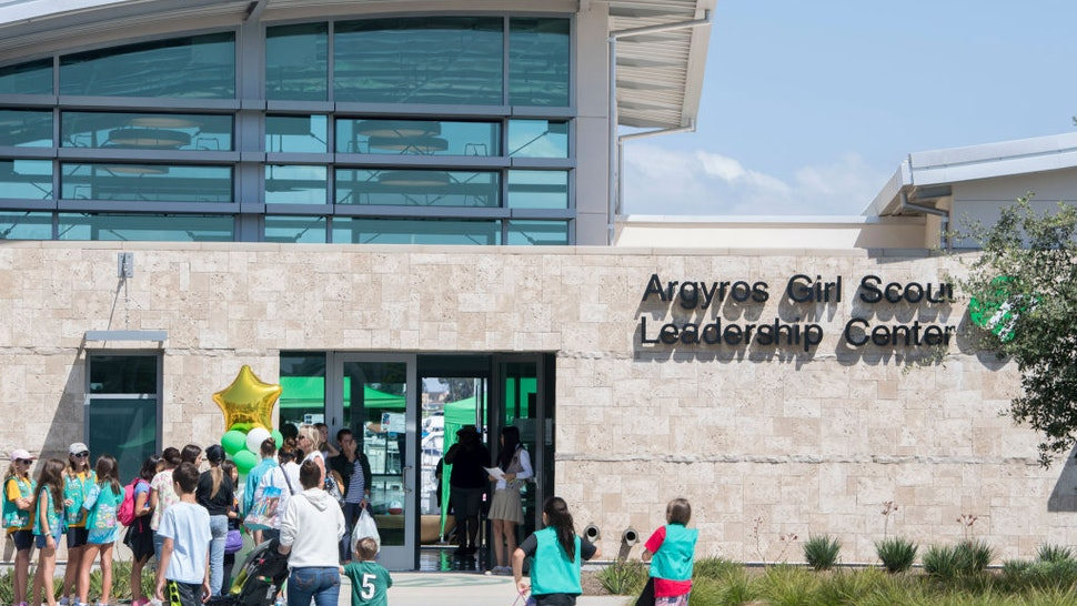 NEWPORT BEACH, CA - SEPTEMBER 23: Girl Scouts head in for a tour during the grand opening of the new Argyros Girl Scout Leadership Center in Newport Beach, CA on Saturday, September 23, 2017. The software helps teach problem solving and analytical skills.
