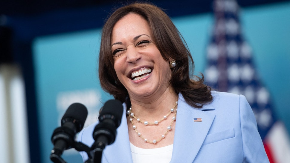 US Vice President Kamala Harris speaks remotely to the Generation Equality Forum in Paris from the Eisenhower Executive Office Building in Washington, DC, June 30, 2021.
