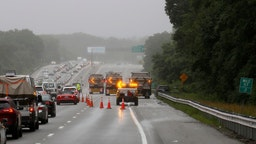 Wakefield, MA. - July 3: Some Lane closures are still in place on I-95 north in Wakefield as the investigation into an armed stand off with police continues along the highway, July 3, 2021 Wakefield, MA.