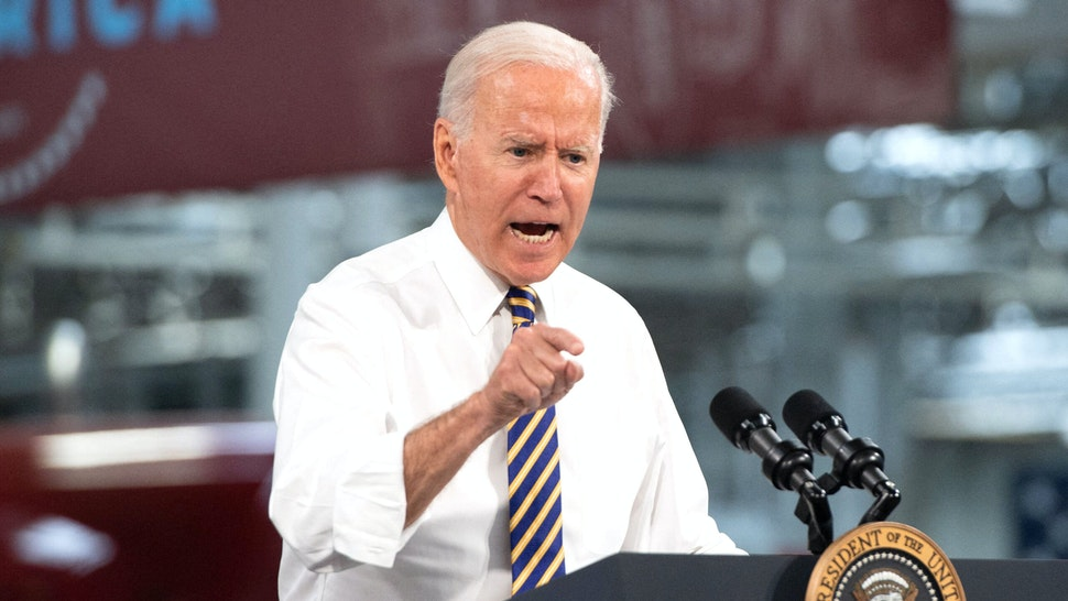 US President Joe Biden speaks about American manufacturing and the American workforce after touring the Mack Trucks Lehigh Valley Operations Manufacturing Facility in Macungie, Pennsylvania on July 28, 2021.