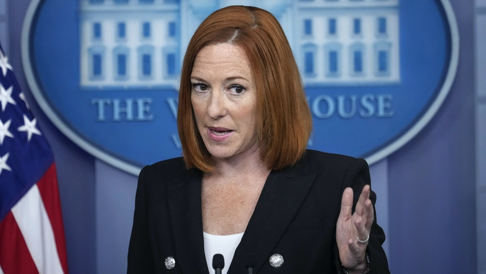 WASHINGTON, DC - JULY 20: White House Press Secretary Jen Psaki speaks during the daily press briefing at the White House on July 20, 2021 in Washington, DC. Psaki acknowledged that a White House staffer has tested positive for COVID-19 and there have been other recent breakthrough cases of vaccinated staff members.