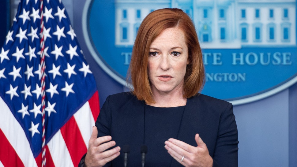 White House Press Secretary Jen Psaki speaks during a press briefing in the Brady Press Briefing Room at the White House in Washington, DC, July 12, 2021.
