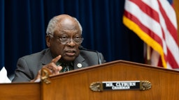 WASHINGTON, DC - JUNE 22: House Coronavirus Subcommittee Chairman James E. Clyburn, (D-SC) speaks during a House Coronavirus Subcommittee hearing on the Federal Reserves response to the Coronavirus Pandemic on Capitol Hill June 22, 2021 in Washington, DC.