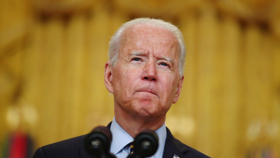 U.S. President Joe Biden pauses while speaking in the East Room of the White House in Washington, D.C., U.S., on Thursday, July 8, 2021. Biden met with security advisers before delivering remarks about the U.S. troop drawdown from Afghanistan, where the Taliban is rapidly advancing on the heels of the U.S. departure. Photographer: Tom Brenner/Bloomberg via Getty Images
