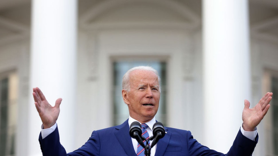 WASHINGTON, DC - JULY 04: U.S. President Joe Biden speaks during a Fourth of July BBQ event to celebrate Independence Day at the South Lawn of the White House July 4, 2021 in Washington, DC. President Biden and first lady Jill Biden hosted about 1,000 guests, including COVID response essential workers and military families, to celebrate the nation's 245th birthday. (Photo by Alex Wong/Getty Images)