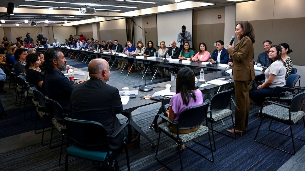 US Vice President Kamala Harris (4th R) meets with Democratic members of the Texas State Legislature at the American Federation of Teachers building near the US Capitol in Washington, DC, July 13, 2021.