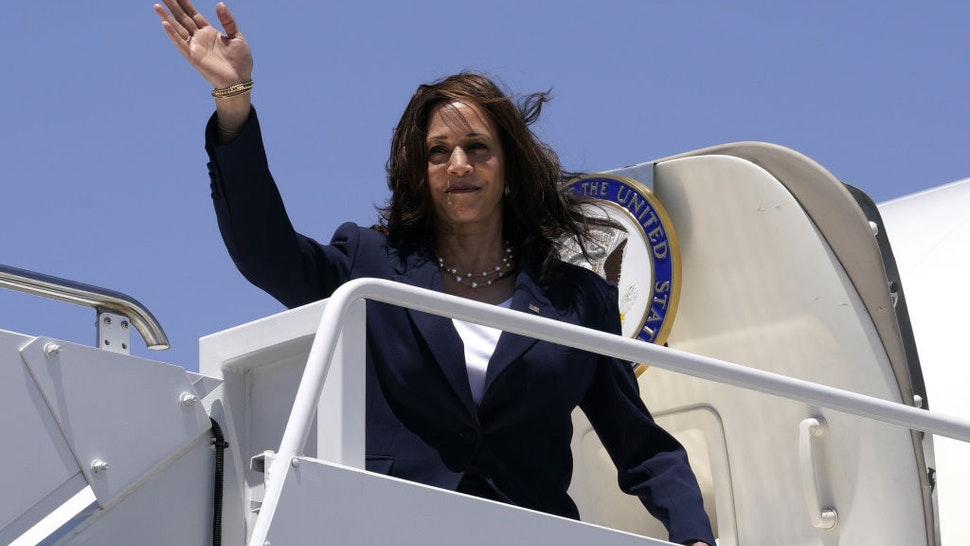 U.S. Vice President Kamala Harris boards Air Force Two at the El Paso International Airport in El Paso, Texas, U.S., on Friday, June 25, 2021. The vice president's visit to the southern border comes after months of denunciations from Republicans, as well as frustration from some Democrats, for not having gone to the border after being chosen to address the root causes of migration from Central America to the U.S. Photographer: Yuri Gripas/Abaca/Bloomberg