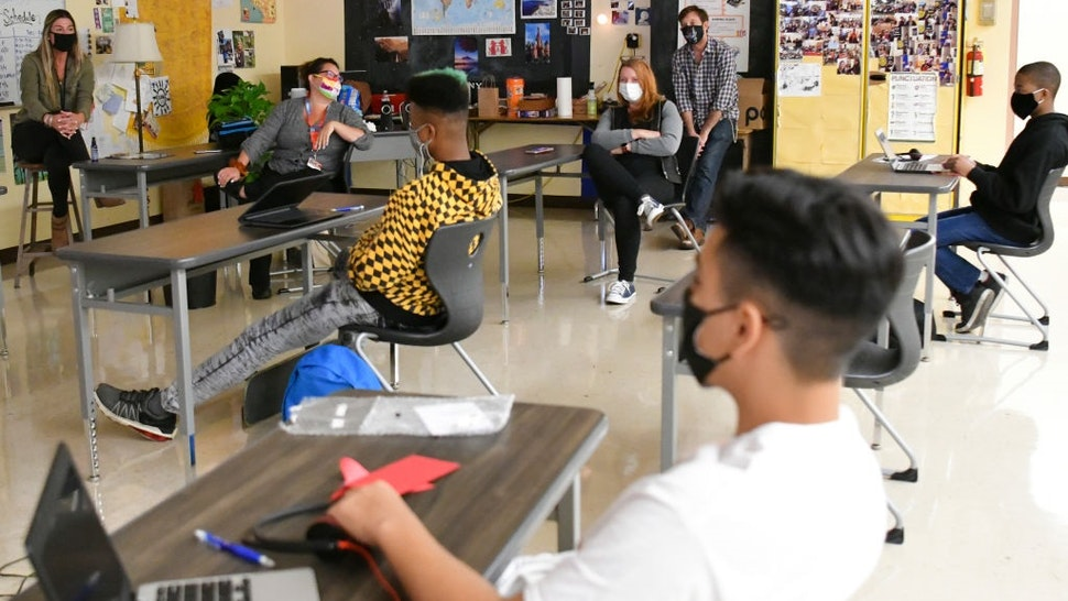 LOS ANGELES, CALIFORNIA - APRIL 27: Students attend in-person instruction at Hollywood High School on April 27, 2021 in Los Angeles, California.