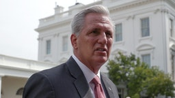 WASHINGTON, DC - JULY 26: House Minority Leader Kevin McCarthy (R-CA) speaks to reporters before a ceremony to mark the 31st anniversary of the Americans with Disabilities Act (ADA) in the Rose Garden of the White House on July 26, 2021 in Washington, DC. This week the House select committee investigating the January 6th insurrection is to hold their first hearing.