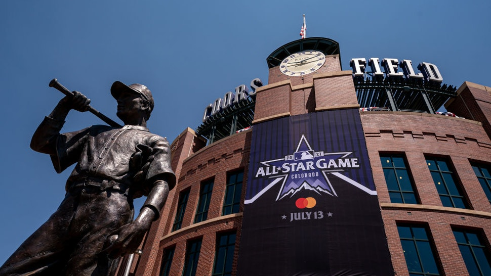 DENVER, CO - JULY 07: The MLB All-Star Logo adorns the facade at Coors Field on July 7, 2021 in Denver, Colorado. (Photo by Matt Dirksen/Colorado Rockies/Getty Images)