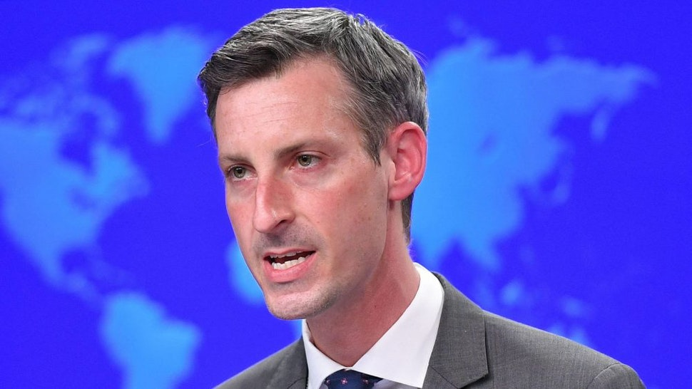 """US State Department Spokesman Ned Price speaks ahead of an address by US Secretary of State Antony Blinken during the release of the """"2020 Country Reports on Human Rights Practices,"""" at the State Department in Washington, DC on March 30, 2021. - Blinken warned Tuesday that human rights were declining around the world as he voiced outrage at situations in China, Myanmar, Syria and other nations."""