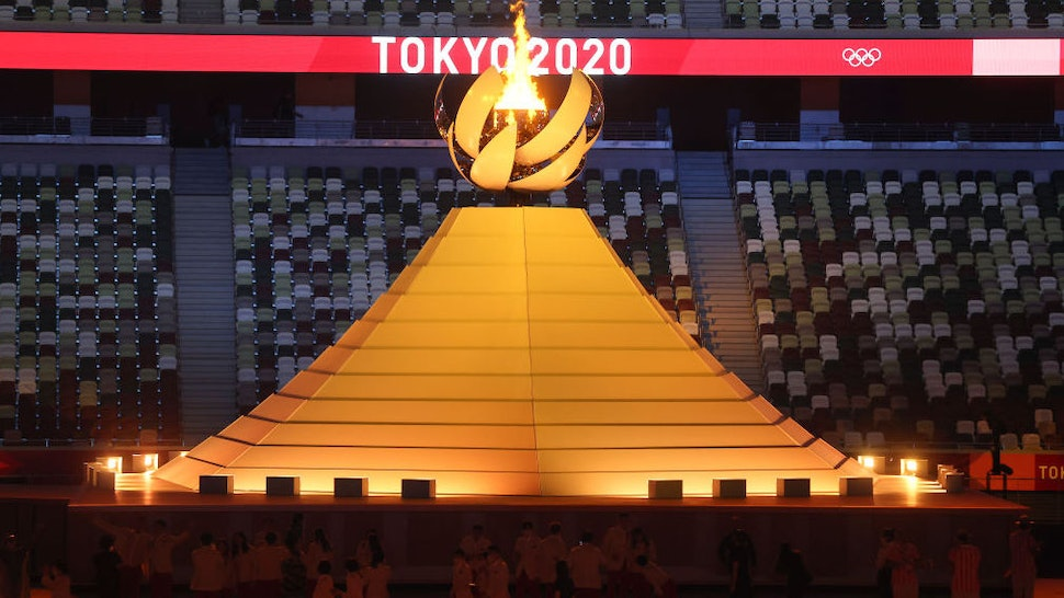 TOKYO, JAPAN - JULY 23: A general view of the Olympic cauldron lit during the Opening Ceremony of the Tokyo 2020 Olympic Games at Olympic Stadium on July 23, 2021 in Tokyo, Japan.