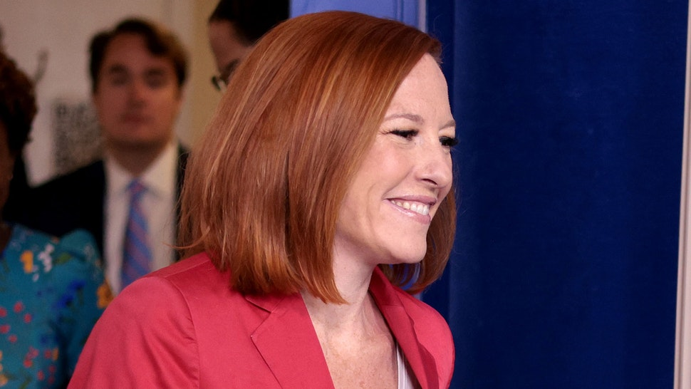 WASHINGTON, DC - JUNE 28: White House press secretary Jen Psaki arrives for her daily briefing on June 28, 2021 in Washington, DC. Psaki answered a range of questions related to pending infrastructure legislation and other topics.