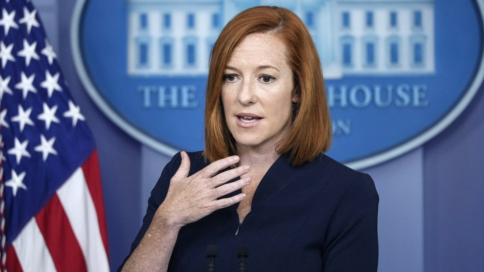 WASHINGTON, DC - JULY 23: White House Press Secretary Jen Psaki speaks during the daily press briefing at the White House on July 23, 2021 in Washington, DC. Later on Friday, President Joe Biden will participate in a campaign event for Virginia gubernatorial candidate Terry McAuliffe.