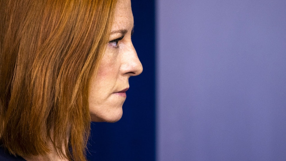 Jen Psaki, White House press secretary, during a news conference in the James S. Brady Press Briefing Room at the White House in Washington, D.C., U.S., on Friday, July 2, 2021. The pace of U.S. hiring accelerated in June, with payrolls gaining the most in 10 months, suggesting firms are having greater success recruiting workers to keep pace with the economy's reopening.