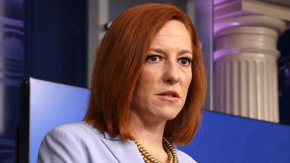 WASHINGTON, DC - MAY 21: White House Press Secretary Jen Psaki speaks during a daily press briefing at the James Brady Press Briefing Room of the White House on May 21, 2021 in Washington, DC. Psaki spoke on the recent ceasefire between Hamas and Israel as well as the White House reopening further to more people.