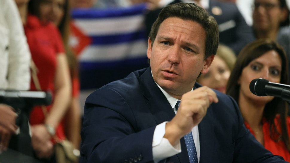 MIAMI, FLORIDA - JULY 13: Florida Gov. Ron DeSantis takes part in a roundtable discussion about the uprising in Cuba at the American Museum of the Cuba Diaspora on July 13, 2021 in Miami, Florida. Thousands of people took to the streets in Cuba on Sunday to protest against the government.