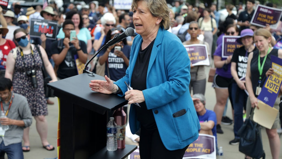 WASHINGTON, DC - JUNE 09: Randi Weingarten, president of the American Federation of Teachers, speaks during a rally in front of the U.S. Supreme Court June 9, 2021 in Washington, DC. People For the American Way (PFAW) and the Declaration for American Democracy coalition held a rally to call on the Senate to pass the For the People Act.