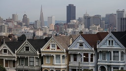 SAN FRANCISCO, CA - FEBRUARY 18: A view of San Francisco's famed Painted Ladies victorian houses on February 18, 2014 in San Francisco, California.