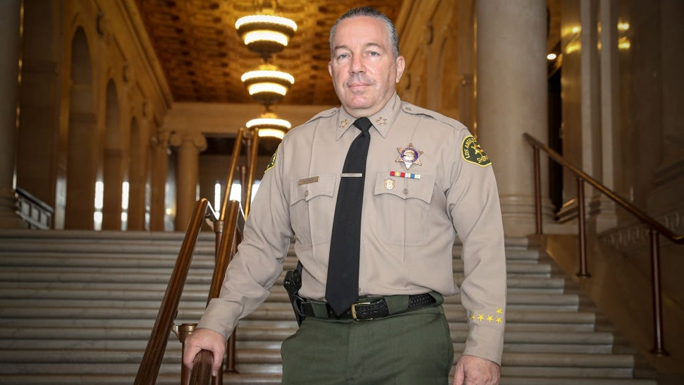 LOS ANGELES, CA - AUGUST 12: Sheriff Alex Villanueva photographed in Hall of Justice on Wednesday, Aug. 12, 2020 in Los Angeles, CA.