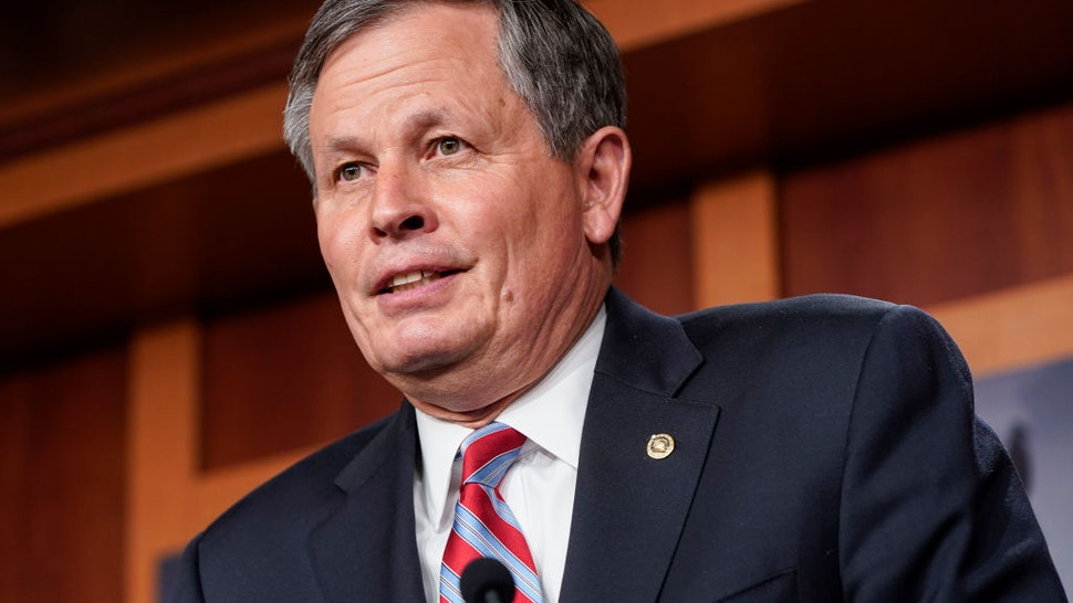 """WASHINGTON, DC - JUNE 17: Senator Steve Daines (R-MT) speaks about his opposition to S. 1, the """"For The People Act"""" on June 17, 2021 in Washington, DC. Republican are calling the proposed legislation, which is intended to expand voting rights and reform campaign finance, a federal take over of elections and unconstitutional."""