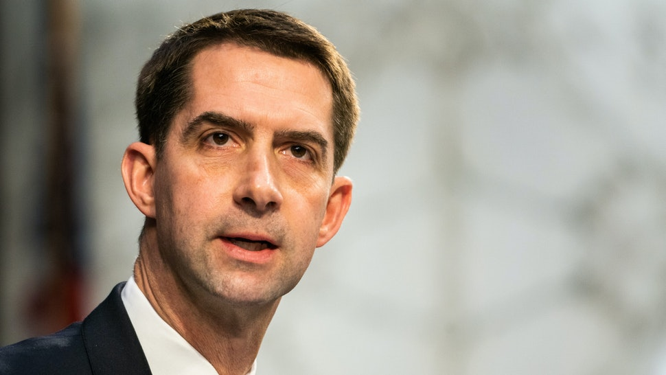 WASHINGTON, DC - FEBRUARY 22: U.S. Sen. Tom Cotton (R-AR) speaks during U.S. Attorney General nominee Merrick Garland's confirmation hearing in the Senate Judiciary Committee on Capitol Hill on February 22, 2021 in Washington, DC. Garland was previously the Chief Judge on the U.S. Court of Appeals for the D.C. Circuit and former President Barack Obama's nominee for the Supreme Court.