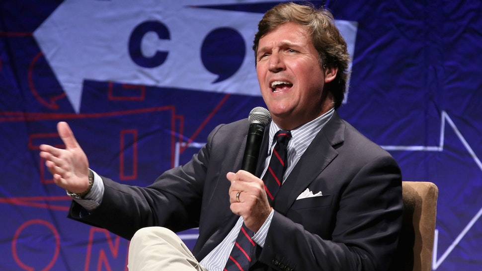 LOS ANGELES, CA - OCTOBER 21: Tucker Carlson speaks onstage during Politicon 2018 at Los Angeles Convention Center on October 21, 2018 in Los Angeles, California.