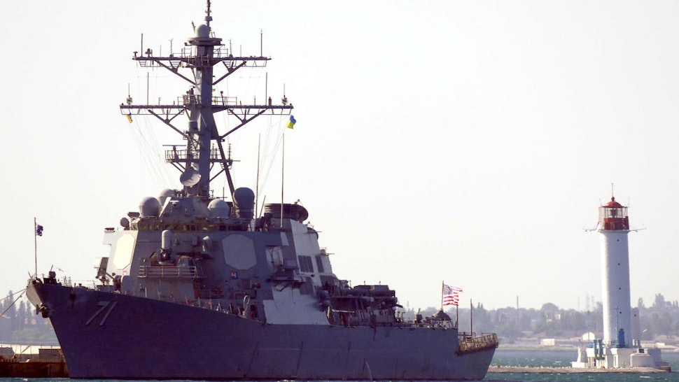 ODESSA, UKRAINE - JUNE 27, 2021: The USS Ross (DDG 71) guided missile destroyer of the US Navy arrives at the port of Odessa to take part in the Sea Breeze 2021 international maritime exercise. Konstantin Sazonchik/TASS
