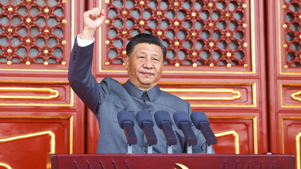 Xi Jinping, general secretary of the Communist Party of China CPC Central Committee, Chinese president and chairman of the Central Military Commission, delivers an important speech at a ceremony marking the 100th anniversary of the founding of the CPC in Beijing, capital of China, July 1, 2021.