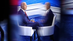 PHILADELPHIA, PENNSYLVANIA - OCTOBER 15: Democratic presidential nominee Joe Biden participates in a Town Hall format meeting with ABC News Chief Anchor George Stephanopoulos at the National Constitution Center October 15, 2020 in Philadelphia, Pennsylvania. The second presidential debate was originally scheduled for this day but was cancelled after President Donald Trump refused to participate in a 'virtual' debate after he tested positive for the coronavirus and was hospitalized for three days. (Photo by