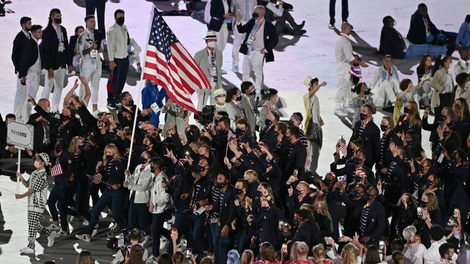 USA's delegation enters the Olympic Stadium during the opening ceremony of the Tokyo 2020 Olympic Games, in Tokyo, on July 23, 2021. (Photo by Jewel SAMAD / AFP) (Photo by