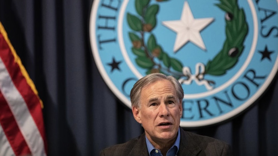 Texas State Legislature Continues Work On Bills During Special Session AUSTIN, TX - JULY 10: Texas Gov. Greg Abbott speaks during a border security briefing with sheriffs from border communities at the Texas State Capitol on July 10 in Austin, Texas. Border Security is among the priority items on Gov. Abbotts agenda for the 87th Legislatures special session. (Photo by Tamir Kalifa/Getty Images) Tamir Kalifa / Stringer via Getty Images