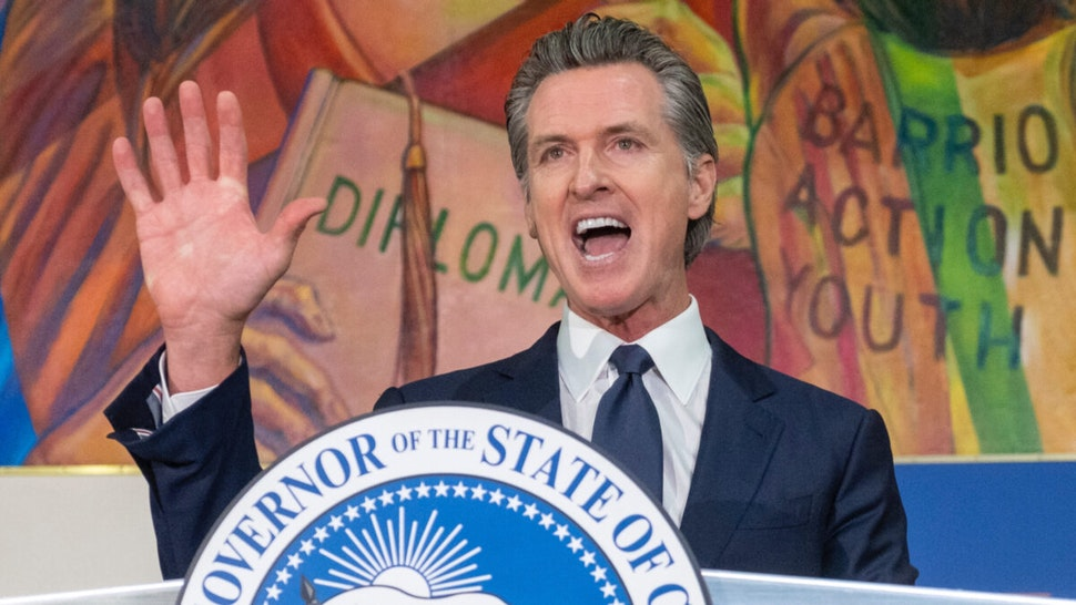 California Governor Gavin Newsom during a rally in Los Angeles, Tuesday, July 13, 2021.