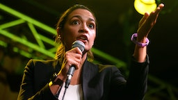 CLEVELAND, OH - JULY 24: Rep. Alexandra Ocasio-Cortez (D-NY) speaks at a rally in support of Ohio Congressional Candidate Nina Turner on July 24, 2021 in Cleveland, Ohio. Turner, a former Ohio State Senator is in a tough race in the upcoming Democratic primary for Ohio's 11th Congressional District.