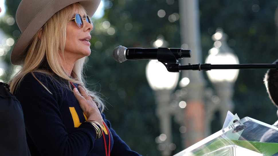 LOS ANGELES, CALIFORNIA - JANUARY 19: Actress Rosanna Arquette speaks at the Women's March California 2019 on January 19, 2019 in Los Angeles, California. Demonstrations are slated to take place in cities across the country in the third annual event aimed to highlight social change and celebrate women's rights around the world.