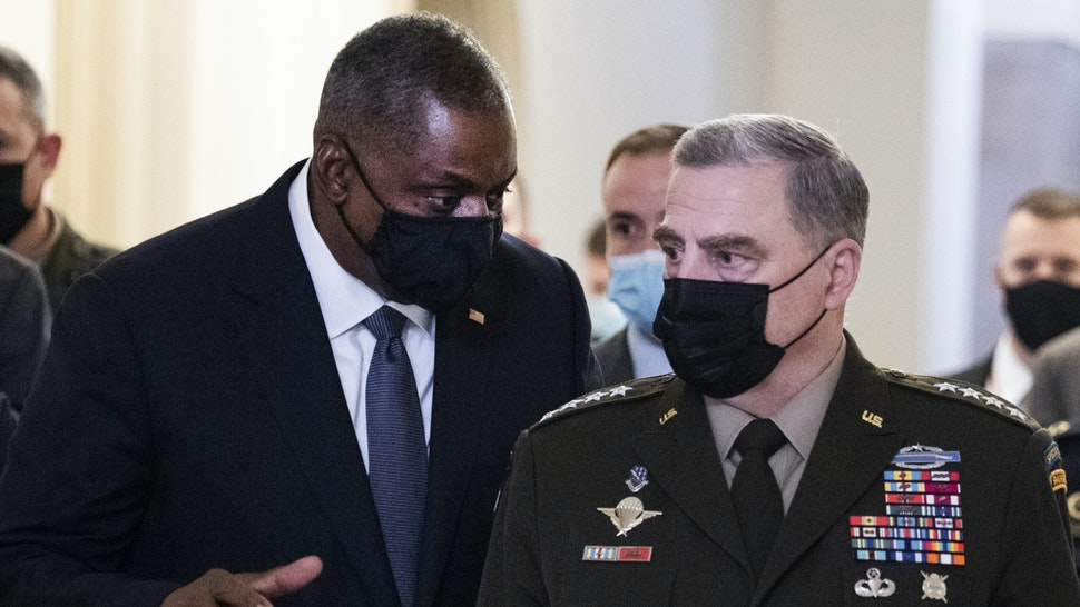 UNITED STATES - AUGUST 24: Chairman of the Joint Chiefs of Staff Gen. Mark Milley, right, and Defense Secretary Lloyd Austin leave the U.S. Capitol after briefing members of Congress on the U.S. withdrawal from Afghanistan on Tuesday, August 24, 2021.