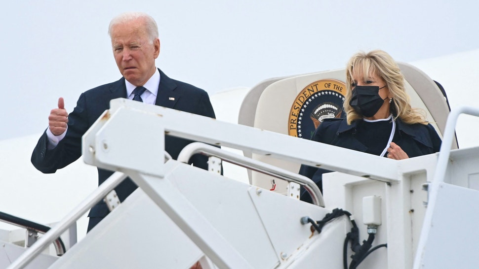 US President Joe Biden boards Air Force One prior to departure from Joint Base Andrews in Maryland, August, 29, 2021. - Biden travels to Dover Air Force Base in Delaware to attend the dignified transfer of the 13 members of the US military killed in Afghanistan last week.