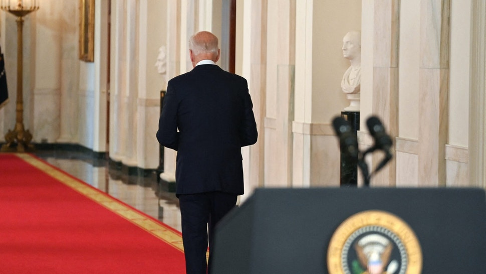 US President Joe Biden walks from the podium after speaking on ending the war in Afghanistan in the State Dining Room at the White House in Washington, DC, on August 31, 2021. - US President Joe Biden is addressing the nation on the US exit from Afghanistan after a failed 20 year war that he'd vowed to end but whose chaotic last days are now overshadowing his presidency.