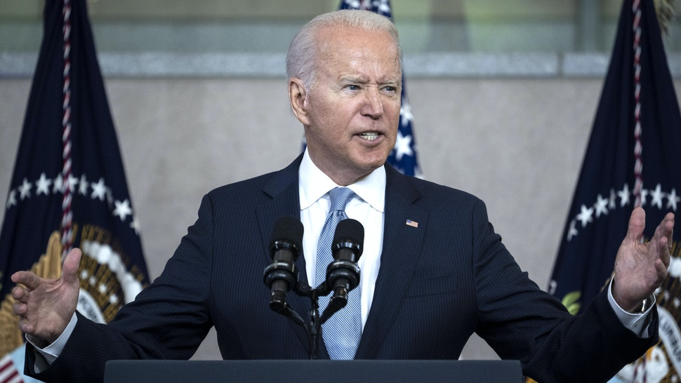 PHILADELPHIA, PA - JULY 13: U.S. President Joe Biden speaks about voting rights at the National Constitution Center on July 13, 2021 in Philadelphia, Pennsylvania. Biden and Congressional Democrats are set to make another push for sweeping voting rights legislation as Republican state legislatures across the country continue to pass controversial and restrictive voting access laws.